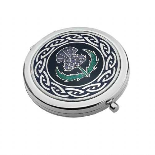Compact Mirror Silver Plated Scottish Thistle Handbag Magnifying Travel Cosmetic